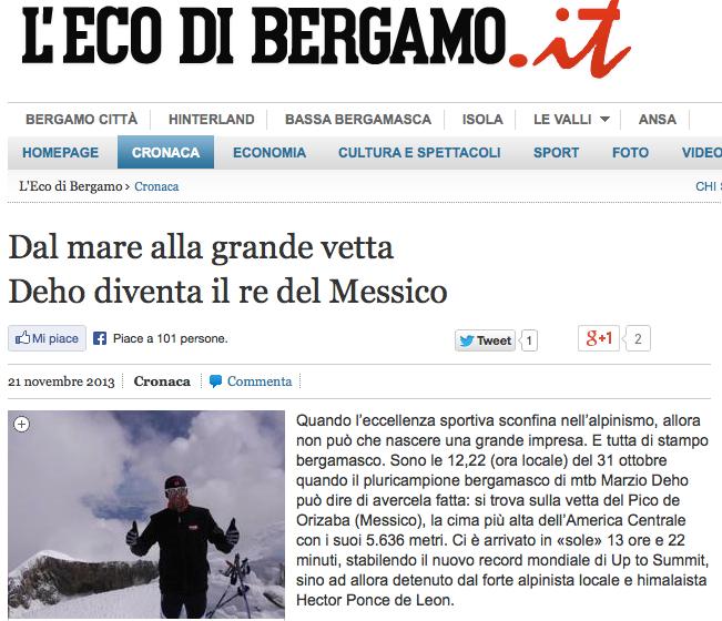 Dal mare alla grande vetta Deho diventa il re del Messico - Cronaca - Bergamo L Eco di Bergamo - Notizie di Bergamo e provincia